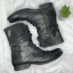 Steven Madden Black Leather Troopa Combat Boots